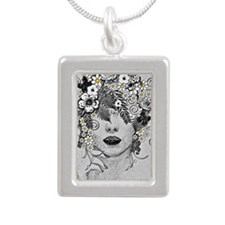 Daisy Goddess Silver Portrait Necklace