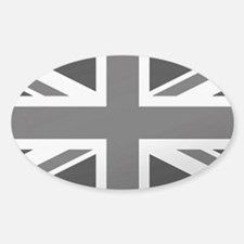 Union Jack: Black and Clear Sticker (Oval)