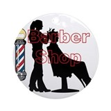 Barber lady Round Ornaments