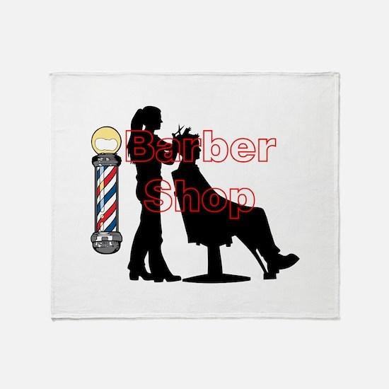 Lady Barber Shop Design Throw Blanket