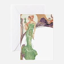 Woman in Green Dress Greeting Card