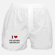 I love Escanaba Michigan Boxer Shorts