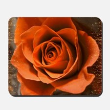 Orange Rose with Gold Mousepad