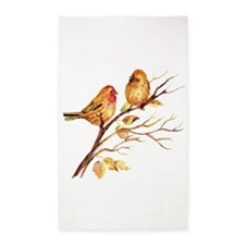 Cute Watercolor Finch Bird Couple on Tree Branch a