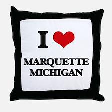 I love Marquette Michigan Throw Pillow