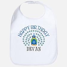 Happy Birthday DEVAN (peacock Bib