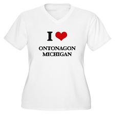 I love Ontonagon Michigan Plus Size T-Shirt