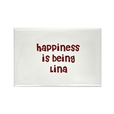 happiness is being Lina Rectangle Magnet