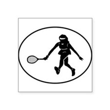 Tennis Player Silhouette Oval Sticker