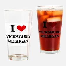 I love Vicksburg Michigan Drinking Glass