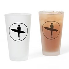 Surfer Silhouette Oval Drinking Glass
