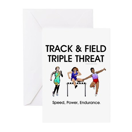 Women's Track and Field Slogan Greeting Cards (Pk