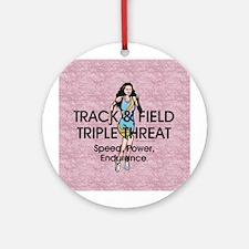Women's Track and Field Slogan Ornament (Round)