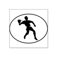 Racquetball Player Silhouette Oval Sticker