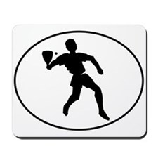 Racquetball Player Silhouette Oval Mousepad