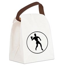 Racquetball Player Silhouette Oval Canvas Lunch Ba