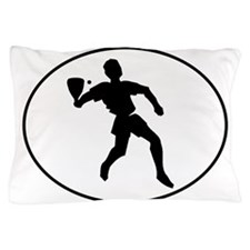 Racquetball Player Silhouette Oval Pillow Case