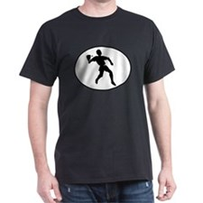 Racquetball Player Silhouette Oval T-Shirt