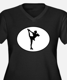 Figure Skater Silhouette Oval Plus Size T-Shirt