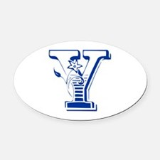 Y-Max blue2 Oval Car Magnet