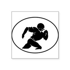 Football Player Silhouette Oval Sticker
