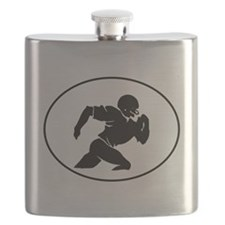 Football Player Silhouette Oval Flask