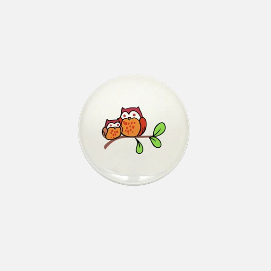 TWO CUTE OWLS Mini Button