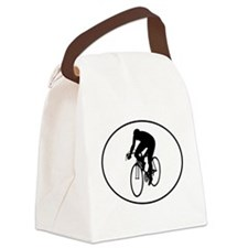 Cyclist Silhouette Oval Canvas Lunch Bag