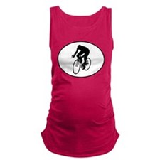 Cyclist Silhouette Oval Maternity Tank Top
