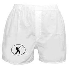 Cricket Player Silhouette Oval Boxer Shorts