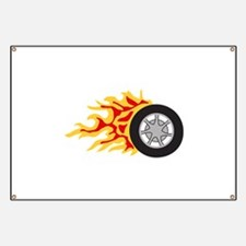 RACING WHEEL WITH FLAMES Banner