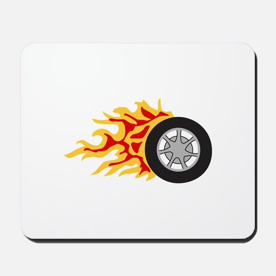 RACING WHEEL WITH FLAMES Mousepad