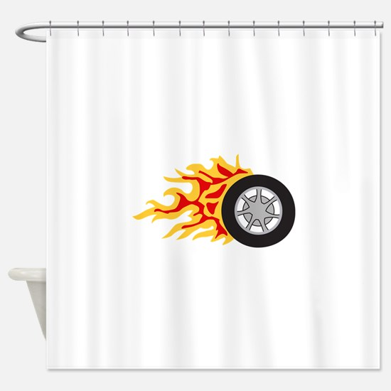 RACING WHEEL WITH FLAMES Shower Curtain