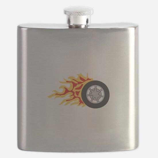 RACING WHEEL WITH FLAMES Flask