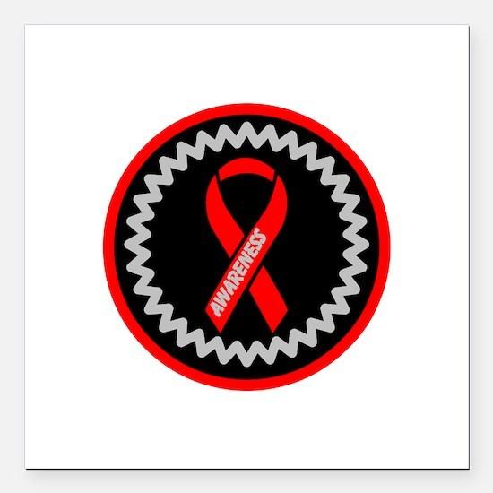 """Red Awareness Hope Ribbon Square Car Magnet 3"""" x 3"""