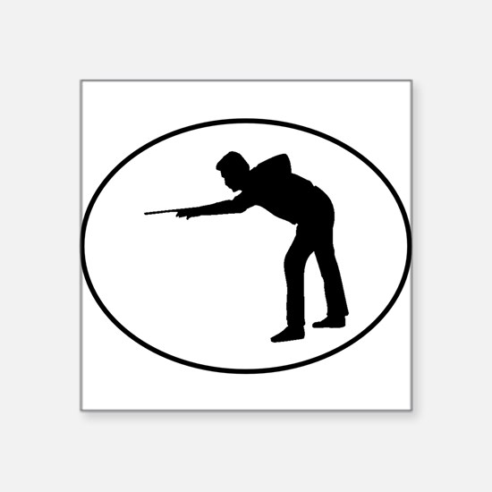 Billiards Player Silhouette Oval Sticker