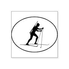 Biathlete Silhouette Oval Sticker