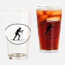 Biathlete Silhouette Oval Drinking Glass