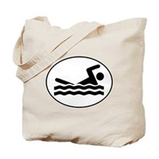Swimmer Oval Tote Bag