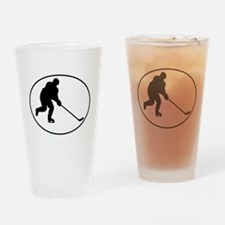 Hockey Player Oval Drinking Glass