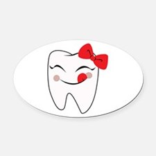 Girly Tooth Oval Car Magnet
