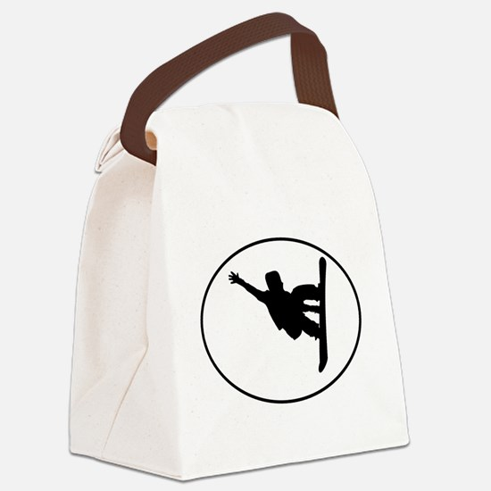 Snowboarder Oval Canvas Lunch Bag