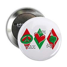 """Peace Love Joy 2.25"""" Button (10 pack)"""