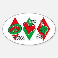 Peace Love Joy Oval Decal
