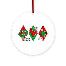 Peace Love Joy Christmas Ornament (Round)