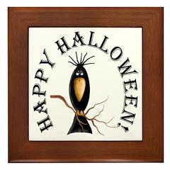 Halloween Black Crow Framed Tile