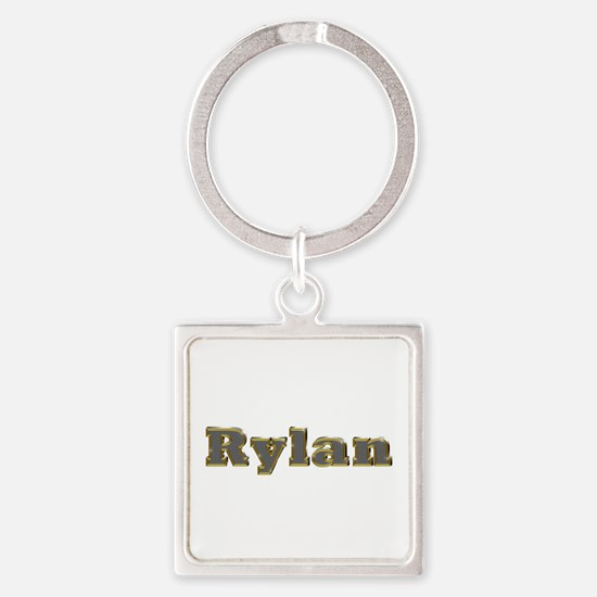 Rylan Gold Diamond Bling Square Keychain
