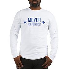 Meyer For President Blue Long Sleeve T-Shirt