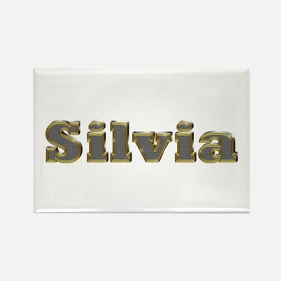 Silvia Gold Diamond Bling Rectangle Magnet