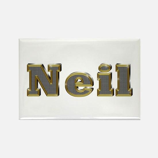 Neil Gold Diamond Bling Rectangle Magnet